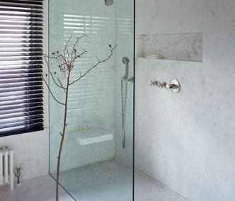minimalist bathroom with large walk in shower with frameless shower panels