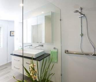 shower with frameless fixed panel