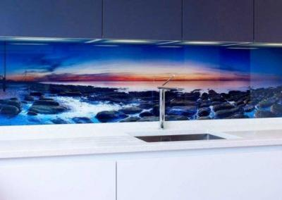 beach dusk glass digital splashback