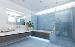 Bright Bathroom In Blue With Candels